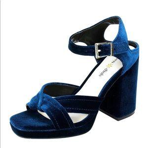 Seven Dials Poliana Blue Velvet Shoes